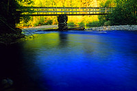 Dramatic contrast between yellow color of fall foliage and a river's deep blue color
