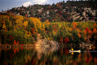 Two paddlers in a white canoe admire the Ontario fall colors
